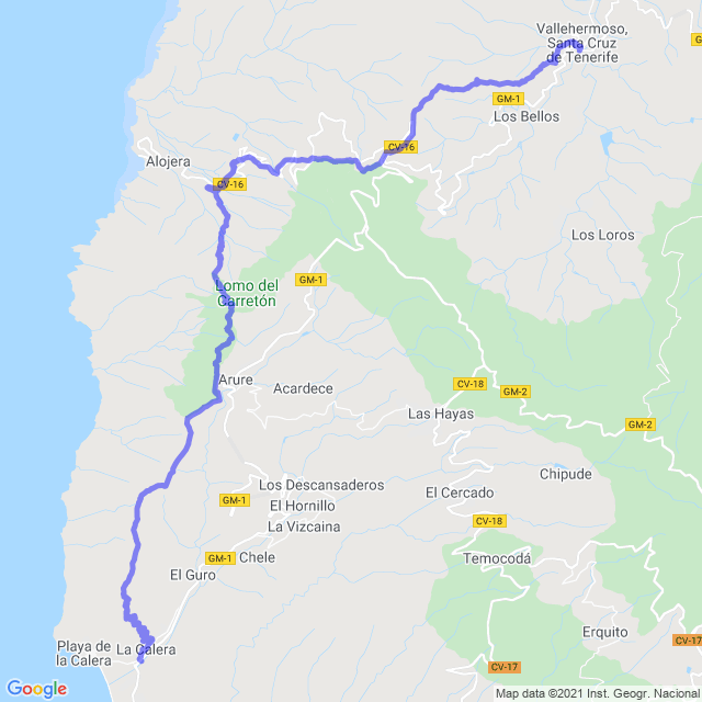 Hiking map of the trail footpath: Vallehermoso - Chorros de Epina - Alojera - Arure - Valle Gran Rey